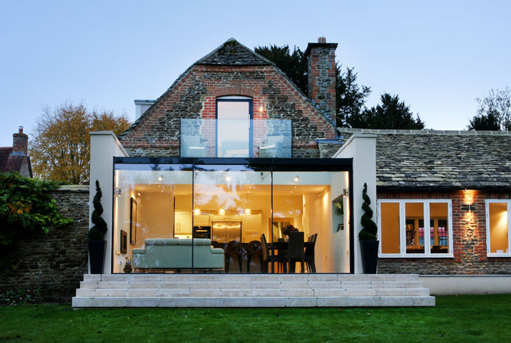 The garden house glass extension to grade ii dwelling for Garden house extension
